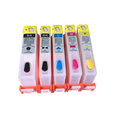 Refillable ink cartridge 364 for HP 7510 7520 B8550 C5324 C5380 C6324 with chips