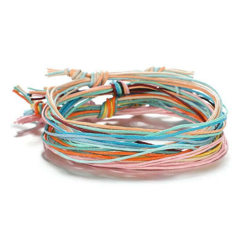 6Pcs Rainbow Friendship Boho Bracelets Handmade Woven Rope S