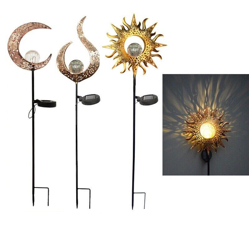 Full Moon Led Light Glass Globe Stake Garden Lawn Solar Outdoor Decorative Lamp
