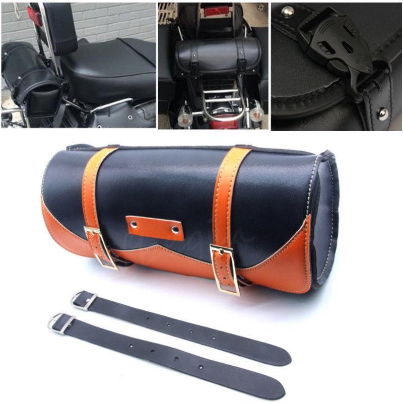 Orange Motorcycle Side Saddle Bag Luggage PU Leather Round Barrel For Harley
