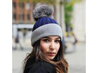 DAYMISFURRY--Blue And Grey Wool Beanie Hat With Single Silver Fox Fur Pom Pom