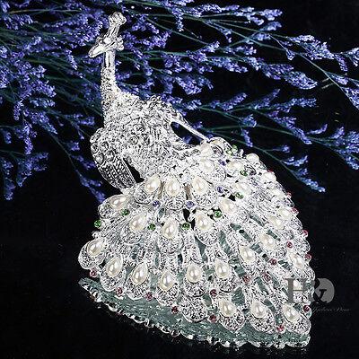 Luxury Silver Peacock Rinestones Jewelry Trinket Box Ring Holder Wedding Decor ()