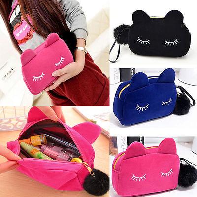 Cute Flannel Cosmetic Makeup Cartoon Cat Storage Bags Pen Pencil Pouch Cases](Cat Makeup)