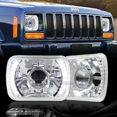 """7""""x6"""" H6052 H6054 White 20-LED Chrome Housing Projector Headlights for GMC"""