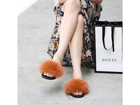 DAYMISFURRY - Fox Fur Slides - Baked Clay