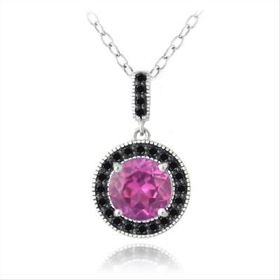 925 Silver 3.25ct Lab Created Pink Sapphire & Black Spinel Round Necklace
