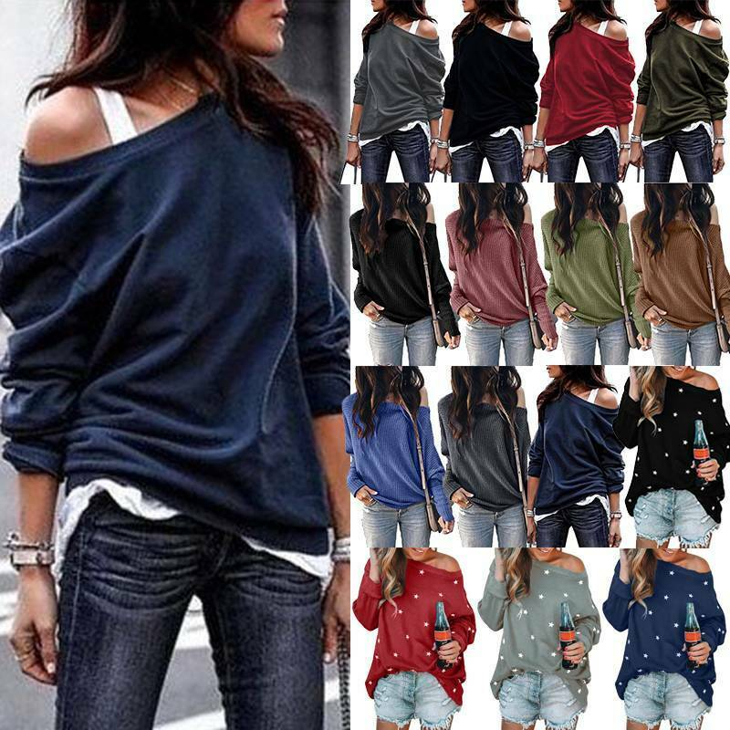 Damen Lose Pullover Tunika Oberteile Sweatshirt Sweater Pulli One Shoulder Tops