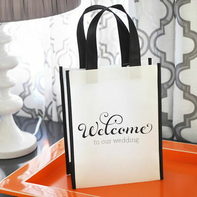 Wedding Welcome Gift Bag - Black White Destination Wedding Tote Bag - MW18160](Welcome Gift)