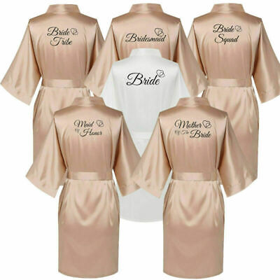 Champagne Satin Silk Wedding Bride Robe Bridesmaid Of Maid Honour Party Gown
