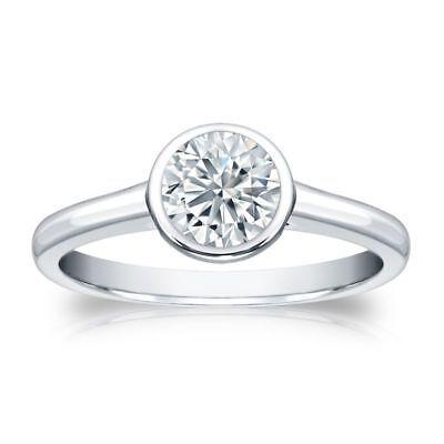 0.30 Cts F/VS1 GIA Certified Natural Diamond Bezel Set Ring In Hallmark 14K Gold
