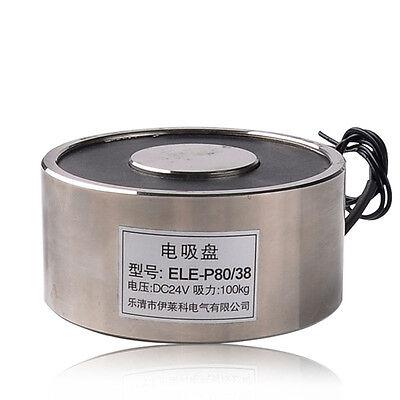 P80x38 12v Dc 100kg Electric Lifting Magnet Electromagnet Solenoid Lift Holding