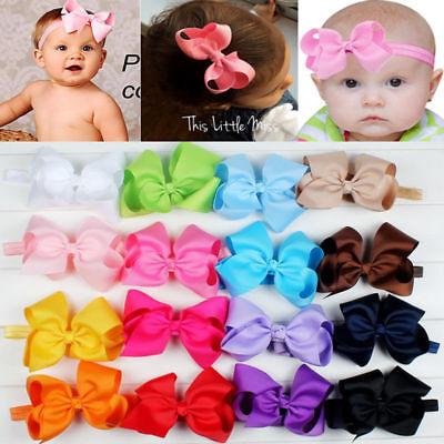 Newborn Baby Girl Kids Toddler Hair Bow Hair Band Headband Grosgrain Ribbon NEW