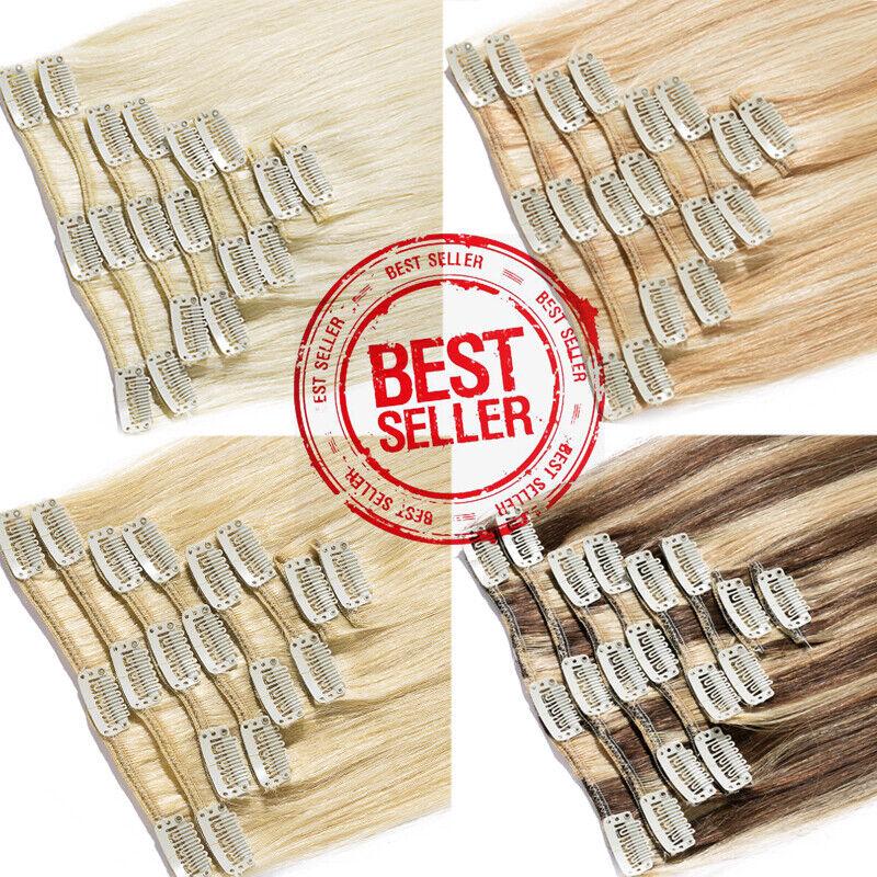 120G Dick Echthaar Clip In Remy Hair Extensions Haarverlängerung 8 Tressen Blond