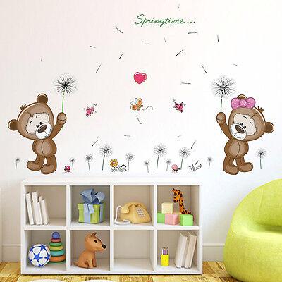 Wandtattoo Mädchen Junge Bärchen Bären Pusteblume Kinderzimmer Babyzimmer Herz ()