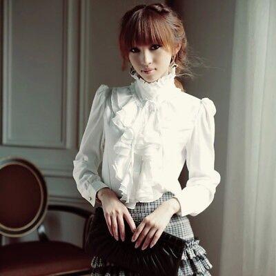 DE Elegante Damen OL Solid Rüschen Rüschenkragen Langarm Casual Shirt Tops Bluse