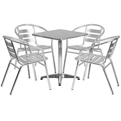 23.5 Square Aluminum Indoor-outdoor Table With 4 Slat Back Chairs