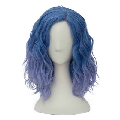 Lolita Heat Resistant Mixed Light Blue Ombre Curly Women Harajuku Cosplay Wig (Blue Ombre Wig)