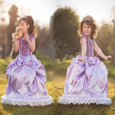 Kids Girls Dress Disney party dress Elsa Frozen  costume Princess Cosplay HOT - Kids Disney Princess Costumes