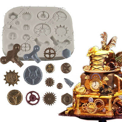 Steam Punk Silicone Cake Mold Cogs Gears Screw Fondant Cupcake Cooking Tools NEW