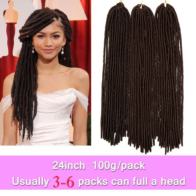 Crochet 10 Human Hair Extensions Soft Dread Lock Hair Faux Locs