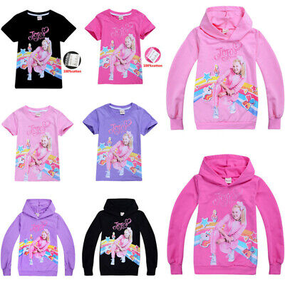 New Jojo Siwa Girls 100% Cotton T shirt Kids Casual Cartoon Hoodie Tops Gift UK