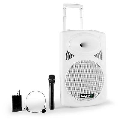 NEU IBIZA PORT12VHF-BT-WH MOBILE MUSIK ANLAGE 2x MIC VHF USB SD MP3 BLUETOOTH