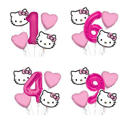 Hello Kitty Head 1-9 Birthday Balloon Bouquet 5 pcs Girls Birthday Party](Hello Kitty Balloon)