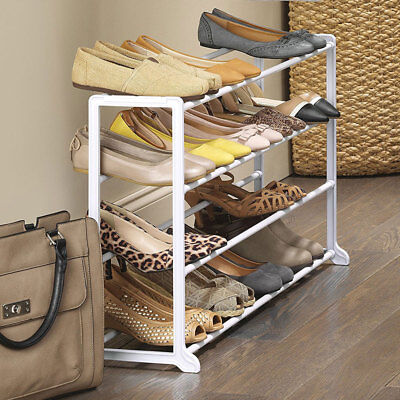 4 Tier 20 Pairs Shoe Rack Closet Organizer Holder Free Standing Space Saving