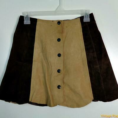 KILIWATCH Vtg A-Line Sexy Soft Lamb Suede Leather Skirt Size 1 Brown/cream