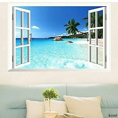 Home Decoration - Beach Window View Scenery 3D Wall Stickers Vinyl Art Mural Decal Home Room Decor