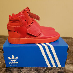 """Adidas Tubular Invader Strap All Red """"Red October"""" DS size 8"""