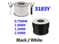 3 Core Round White/Black Flexible Electric Cable 0.5/0.75/1.0/1.5/2.5 mm PCV Wiring 2183Y 3183Y