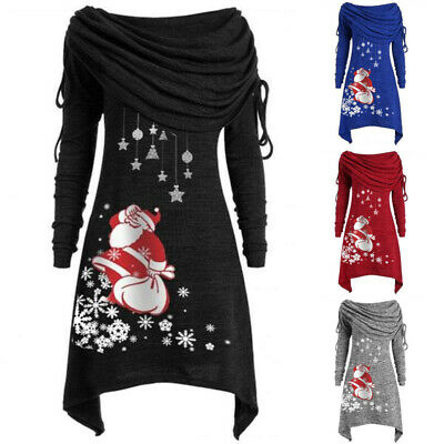 Plus Size Women Christmas Santa Skater Long Sleeve Crew Neck Swing Xmas DressesW