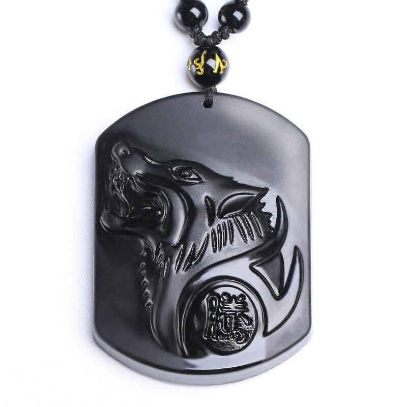 Wolf Head Obsidienne Pendentif Amulette Bijoux Pullover Long Perles Chaîne Collier