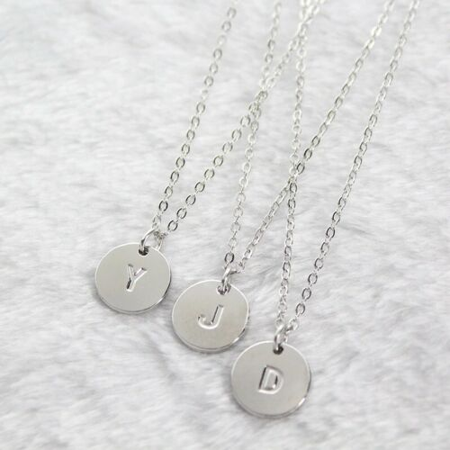 Initial A-Z Letter Coin Disc Name Round Pendant Necklace Silver Plated 18″ N132 Fashion Jewelry