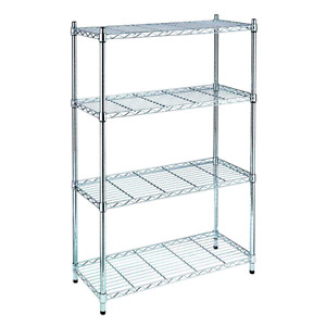 Chrome Solid metal wire storage shelving. With 5 shelves.
