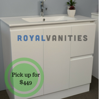 Bathroom Vanity Gloss White Ceramic Top 750 mm