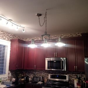 Multiple Brushed Stainless and Glass Light Fixtures Cambridge Kitchener Area image 2