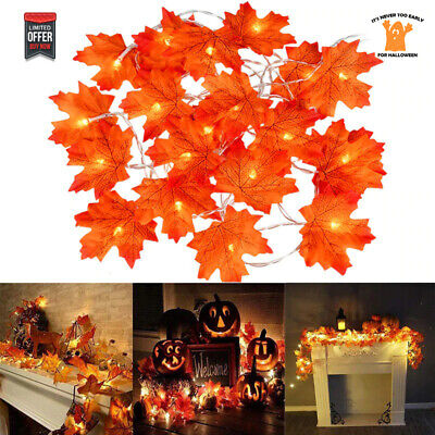 Halloween Maple Leaves String Lights 2M 10LED Garland Indoor Outdoor Decorations