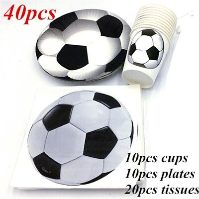 40pcs Soccer Birthday Party Set Tableware Decorations Paper Plate& Cup Favours (Soccer Party Decor)