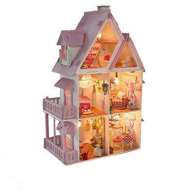 Large Dream Villa Room DIY Wood Dollhouse all Furniture including 3D LED light