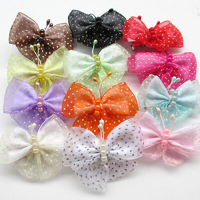 12PC Pet Dog Hair Clips Ribbon Bows Cat Puppy Hair Access Grooming Big Butterfly
