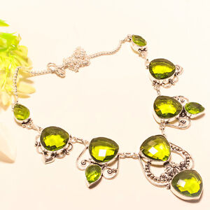 FACETED GREEN PERIDOT 925 STERLING SILVER NECKLACE 16-18""