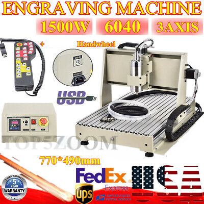 3 Axis Usb Engraver Cnc 6040 Router Milling Machine Cutter 1.5kw Handwheel Usa