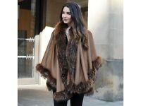 DAYMISFURRY-- Large Cashmere Cape with Raccoon Fur Trim