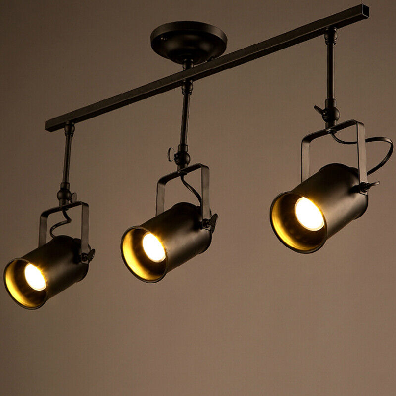 Details About 3 Light Industrail Led Retro Adjule Ceiling Spotlight Track Lighting Fixture