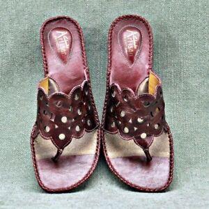Ladies Clarks Artisan Burgundy Leather Thong Wedge Heel Sandals