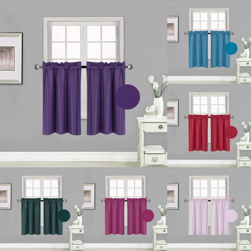 Kitchen Rod Pocket Insulated Blackout Window Tier Curtains 1 PAIR 30