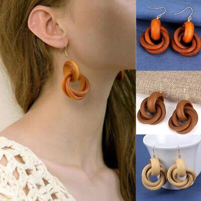 Women Wooden Exaggeration Earrings Spiral Round Wood Dangle Stud Statement Gift
