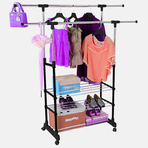 Adjustable Clothes Coat Garment Hanging Rail Rack Storage Double Stand Castors